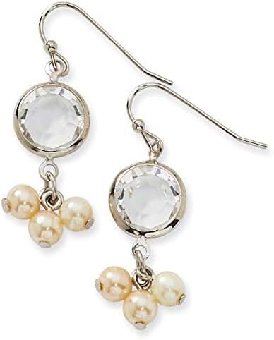 Silver-tone Glass Beads & Crystal Stone Dangle Earrings