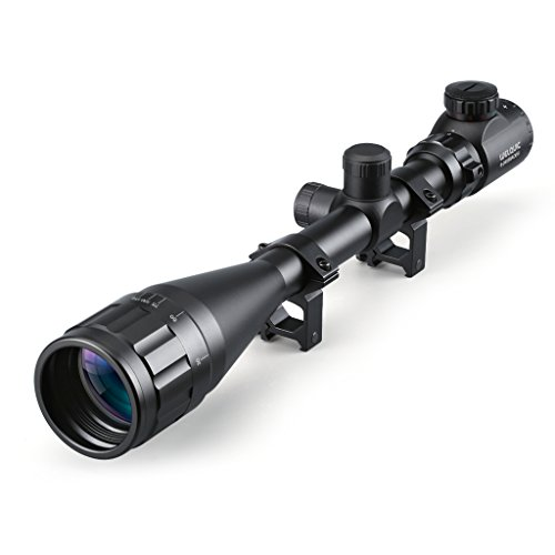 WELQUIC Rifle Scope 6-24x50mm AOEG Red/Green Illuminated Hunting Scope with Flip-Open Lens Scope Cover and 22mm Mounts