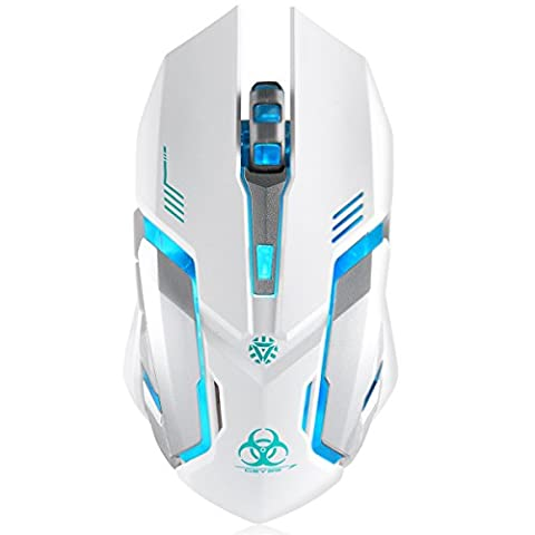 Wireless Gaming Mouse, VEGCOO C9 Silent Click Wireless Rechargeable Mouse with Colorful LED Lights and 2400/1600/1000 DPI, 1000mAh Lithium Battery for Laptop and Computer (Gaming Mouse Wireless Silent)