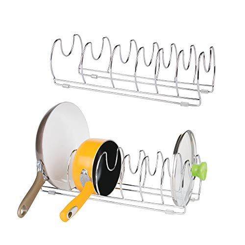 mDesign Metal Wire Pot and Pan Organizer Rack for Kitchen Cabinet, Pantry and Shelves - Organizer Holder with 6 Slots for Skillets, Frying Pans, Lids, Vertical or Horizontal Placement - 2-Pack, Chrome