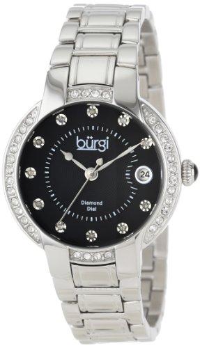 (Burgi Women's BUR077SSB Stainless Steel Diamond Date Bracelet Watch)