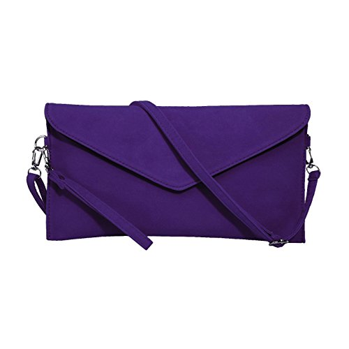 - Jieway Women's Faux Suede Evening Clutch Bag Crossbody Bag Shoulder Handbags (Purple)