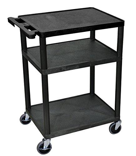 Luxor Black Mobile Plastic 3 Shelf AV Presentation Cart (Visual Cart Presentation)