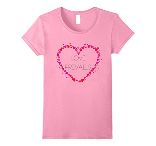 Womens OFFICIAL PINK HEART LOVE PREVAILS T-SHIRT  XL Pink (Peace Heart Pink)