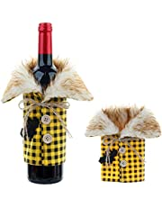 Halloween Sweater Wine Bottle Cover, Wine Bottle Dress, Reusable Red Wine Bottle Sweater Gift Bags for Xmas Party Decoration (Yellow)