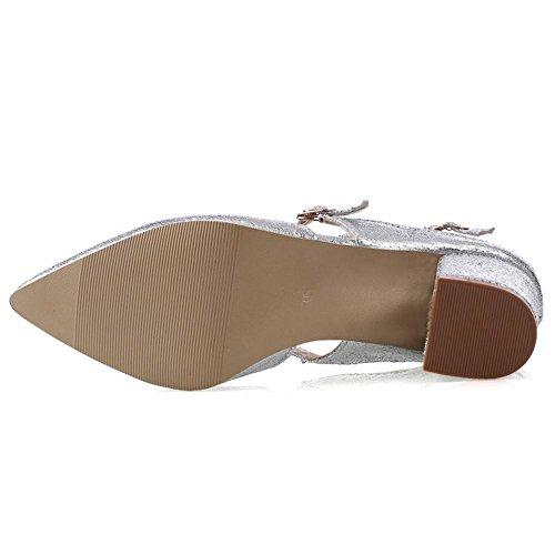 Ancho Silver Bombas Tacon Mujer RAZAMAZA Zapatos Eq4CnY