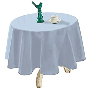 "YEMYHOM Spill-Proof Fabric Round Tablecloth for Dining Room, Wedding and Party (60"" Round, Light Blue)"