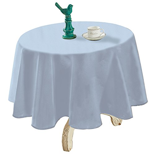 """YEMYHOM Spill-Proof Fabric Round Tablecloth for Dining Room, Wedding and Party (60"""" Round, Light Blue)"""