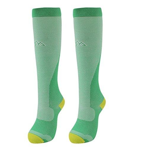 Graduated Compression Socks Fit for Shin Splints Flight Travel Sports Nurses - Athletic Running Socks Offer Leg Support Recovery Calf Pain - Women Men (Green, M (7-8))