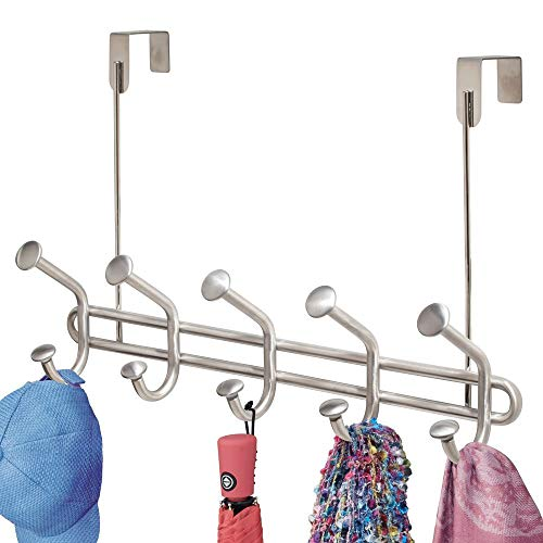 mDesign Decorative Over Door 10 Hook Metal Storage Organizer Rack for Coats, Hoodies, Hats, Scarves, Purses, Leashes, Bath Towels, Robes, Men and Womens Clothing - Brushed