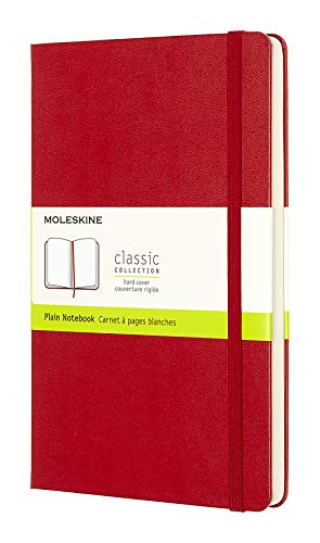 """Moleskine Classic Notebook, Hard Cover, Large (5"""" x 8.25"""") Plain/Blank, Scarlet Red, 240 Pages"""