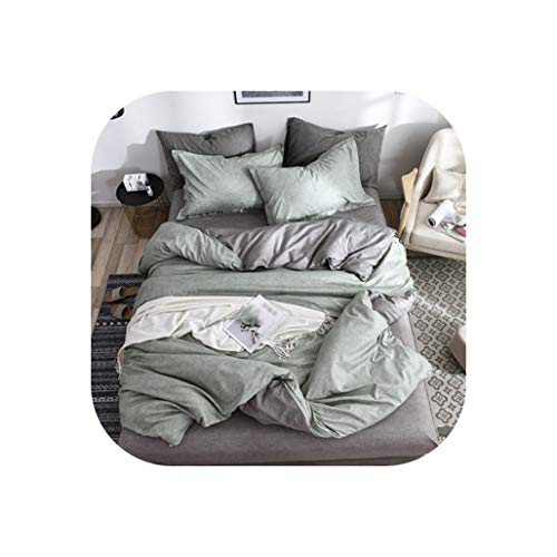 - Special shine-shop Bedding Solid Simple Bedding Set King Queen Full Twin Bed Linen Brief Bed Set,Light Green Grey,Full,Flat Bed Sheet