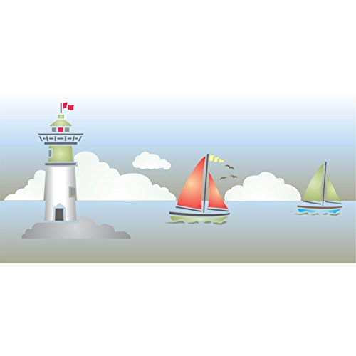 """Stencils for Walls - Lighthouse Stencil (size 14.5""""w x 6""""h) Reusable Sea Ocean Nautical Sailboat Border Stencils for Painting - Use on Paper Projects Walls Floors Fabric Furniture Glass Wood etc."""