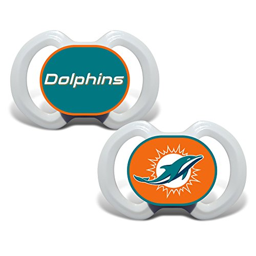 Baby Fanatic 2 Piece Pacifier Set, Miami Dolphins (Official Team Raiders Jersey)