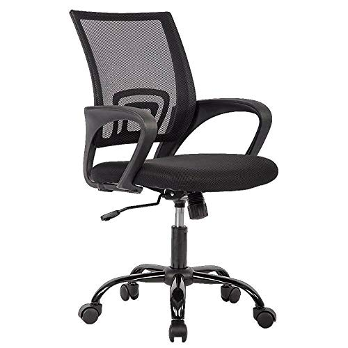 Office Chair Ergonomic Cheap Desk Chair Mesh Computer Chair Lumbar Support Modern Executive Adjustable Stool Rolling Swivel Chair for Back Pain, -