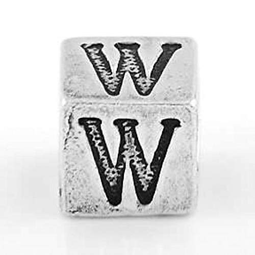 (Sterling Silver Block Letter Initial W Cube Charm Jewelry Making Supply Pendant Bracelet DIY Crafting by Wholesale Charms)