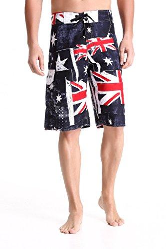 Swim Boardshorts Men's-Quick-dry Board Shorts-Sports Surf Beach Shorts-Clothin(Australia Flag Pattern,US - Sports Suits Australia