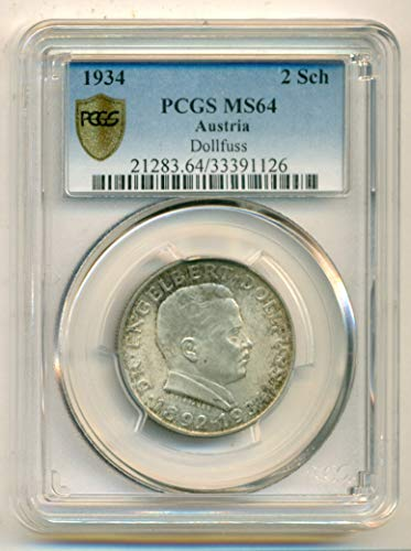 1934 AT Austria - Dollfuss Silver 2 Schilling MS64 PCGS Gold Shield