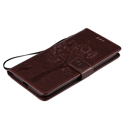 SRY-Conjuntos de teléfonos móviles de Huawei Funda Huawei Nexus 6P, cubierta de la caja de cuero PU color sólido flores en relieve Caja patrón de gato y árbol para HUAWEI Nexus 6P (5.7) Proteja comple Dark Brown