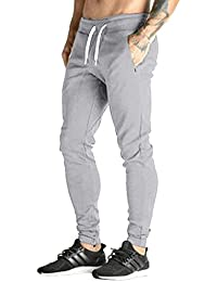 Men's Jogger Fleece Sweatpants Running Workout Pants Sports Tapered Trousers Slim Fit Tracksuit