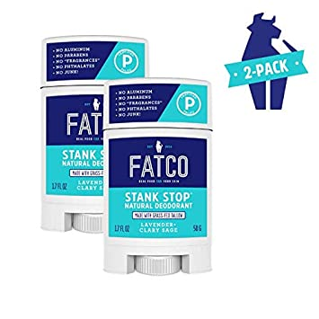 FATCO Stank Stop Natural Deodorant, 1.7 oz – In a NEW Stick 2-PACK Lavender Clary Sage