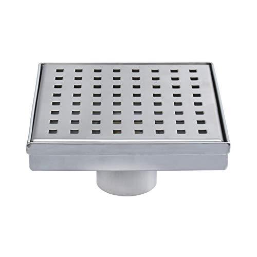 Fryotuc Rustproof Shower Drain 6 Inch Bathroom Floor Drain Brushed Shower Drain Cover with Quadrate Pattern by Fryotuc