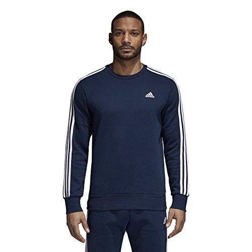 adidas Men's Athletics Essential 3 Stripe Crew Sweatshirt, Collegiate Navy/White, Medium
