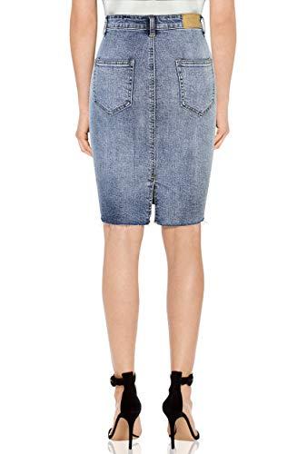 KT Courte Stretch Bleu Haute Moyen Taille Jupe Crayon Femme Brut Jean Ourlet SUPPLY Denim en Super Jupe Dlav rpqzAr