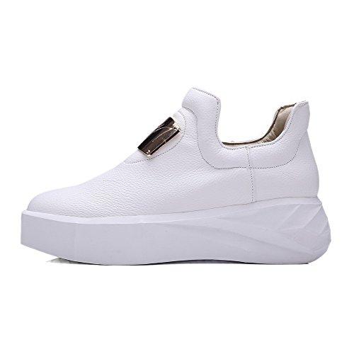 Zehe geschlossene Weiß Heels Materialien Pumps Pull VogueZone009 Solide Schuhe Mischung Runde Kitten Frauen On qw6qaCgxv