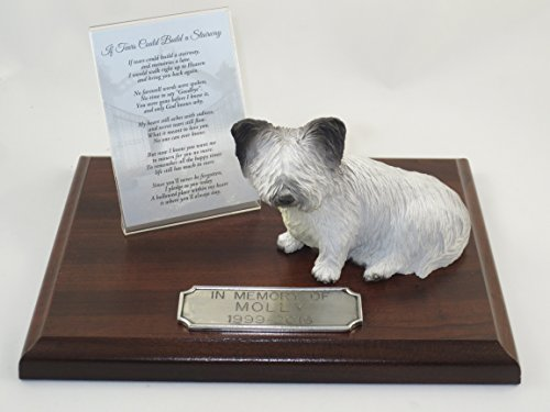 (Beautiful Walnut Finished Personalized Memorial Plaque With Skye Terrier Figurine)