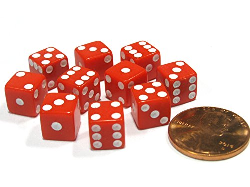 - Set of 10 Red 8mm Six Sided D6 Small Square Dice with White Pips by Koplow Games