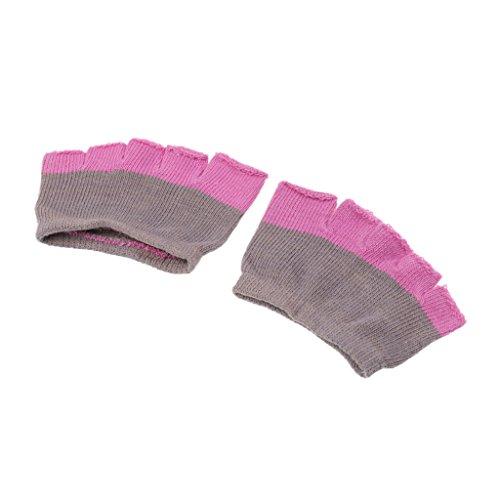MagiDeal 1 Par Calcetines de Yoga 5 Dedos de Pies Invisible Gimnasio Danza Deporte Transpirable Absorbente de Sudor - Gris rosa Gris rosa