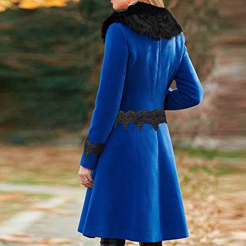 Hengshikeji Women Swing Double Breasted Wool Pea Coat with Belt Buckle Spring Mid-Long Long Sleeve Lapel Dresses Outwear