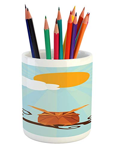 (Ambesonne Owl Print Pencil Pen Holder, Sleepy Bird on Swirling Branch at Sunny Day on Pastel Sunburst, Printed Ceramic Pencil Pen Holder for Desk Office Accessory, Multicolor)