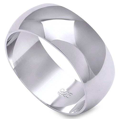 Solid Sterling Silver Women's Mens Unisex Wedding Band Ring Comfort 2-10mm Sizes 2-16 (8mm--Size 9)