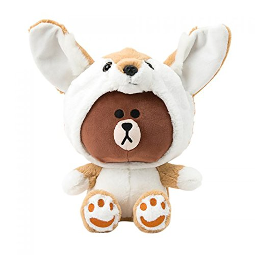 (LINE FRIENDS Plush Figure - Fox Brown Character Cute Soft Sitting Stuffed Doll, 10 Inches)