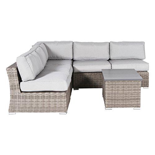 Aluminium Outdoor Furniture - Century Modern Outdoor Marina Collection Patio Sofa Set,Wicker Rattan Outdoor Seating Aluminium Frame Resort Grade Furniture with Cushioned Seat [CM-4914] (6 Pieces)