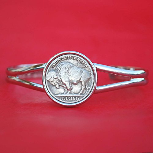 (US 1913 ~ 1938 Indian Head Buffalo Nickel 5 Cent Coin Silver Plated Cuff Bangle Bracelet NEW)