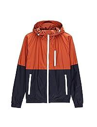 SODIAL(R) Spring Autumn new men's sports jacket hooded Outdoor jacket Men Fashion Thin Windbreaker Zipper Coats Outwear Orange M