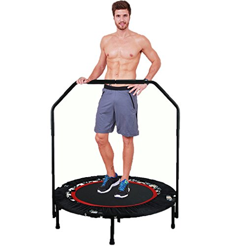 Foldable Mini Trampoline with Adjustable Handle Bar Fitness Rebounder Bungee-Rope-System Trainer for Kids or Adults Zero Stretch Jump Mat - Maximum Load 300lbs by Ferty