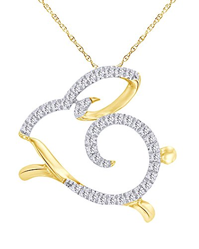 1/10 CT Round Cut Natural Diamond Bunny Pendant Necklace in 10K Solid Yellow ()