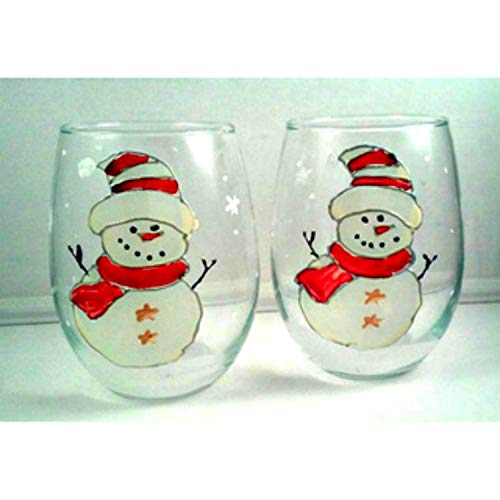 2 Red Hat Snowman Painted Stemless Wine Glasses