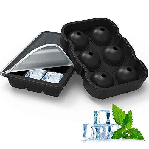 Homgeek Ice Cube Trays Silicone Set of 2, 15 Cavity Square Ice Cubes & Sphere Round Ice Ball Mold with Lid Bpa Free, for Whiskey and Cocktails, Keep Drinks Chilled (Black)
