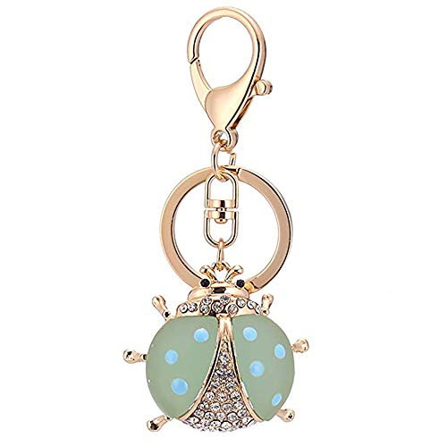 Kuohai Crystal Keychain Animal Keyring Car Bag Accessories Business Birthday Gifts Beautiful Pendant (Ladybug green)