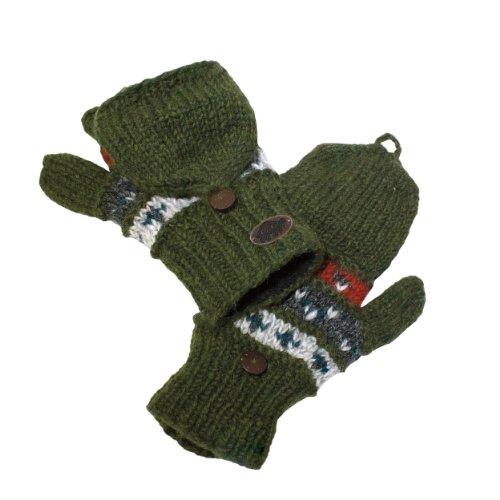Turtle Fur Women's Nepal Tyler Flippy Artisan Hand Knit Wool Mittens, Oregano
