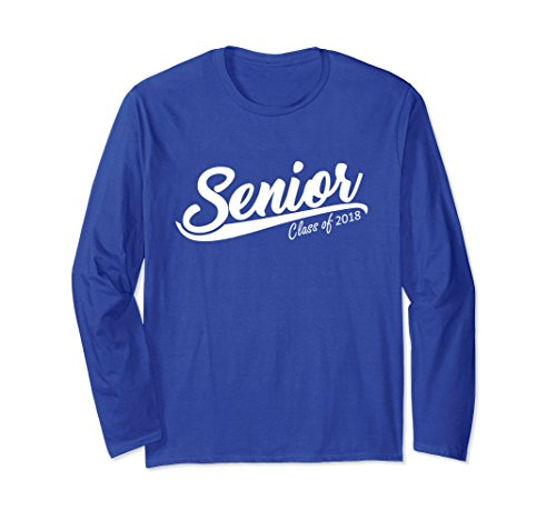 Unisex Senior Graduation Class of 2018 long Sleeve T-Shirt Gift Medium Royal Blue