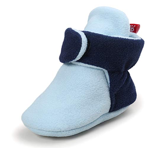 Sawimlgy US Baby Boys Girls Fleece Booties Non-Slip Bottom Winter Socks Shoes Unisex Pram Soft Sole First Birthday Gift ()