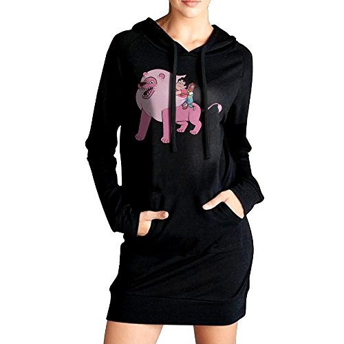 Womens Steven Universe Lion Hoodie Black Long Sleeve Sweatshirt Dress With Pocket Large