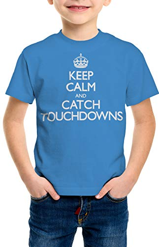 shirtloco Boys Keep Calm and Catch Touchdowns Youth T-Shirt, Iris Small