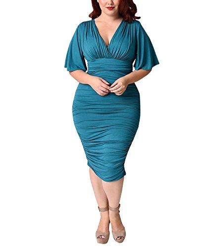 BIUBIU Women's Sexy Plus Size V Neck Ruched Party Bodycon Midi Dress Turquoise 2XL